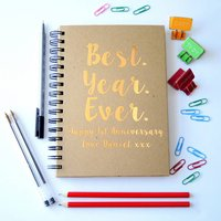 Personalised First Anniversary Best Year Notebook, Black/Gold