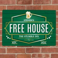 Personalised Free House Pub Green Metal Sign