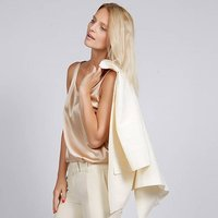 Victoria Silk Satin Tank Top In Champagne Or Black, Champagne