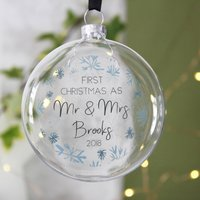 First Married Christmas Snowflake Glass Bauble