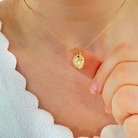 Gold Oval Sparkling Star Pendant Necklace, Gold