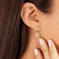 Silver Or Gold Initial Letter Hoop Drop Earring, Silver