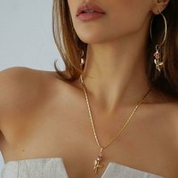 Gold Rose Pendant Hoop Earrings And Necklace Set, Gold