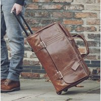 Leather Travel Duffel Bag With Wheels Dino Large