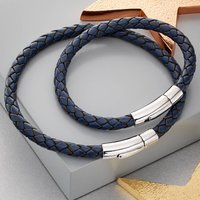 Daddy And Me Silver And Navy Leather Bracelet Set, Silver