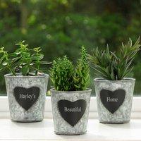 Three Personalised Windowsill Herb Planters