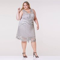Plus Size Elsa Art Deco Dress In Silver