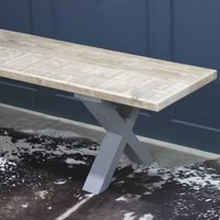 Kings Cross Reclaimed Wood Bench With X Frame, Black/White/Grey