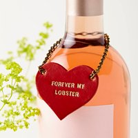 Personalised Leather Couples Bottle Tag, Red/Pink/Mint
