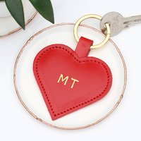 Personalised Embossed Initials Leather Heart Keyring