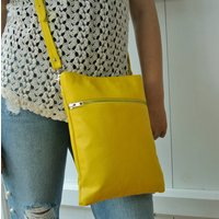 Yellow Leather Marldon Zipper Messenger Bag