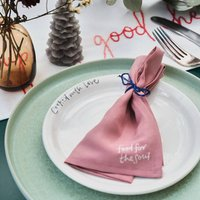Plate And Hand Embroidered Napkin Set