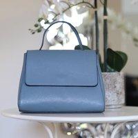 Leather Top Handle Handbag, Denim Blue