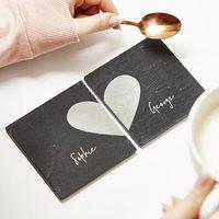 Personalised Heart Coaster Gift Set