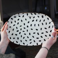 Personalised Polka Dot Ceramic Oval Platter