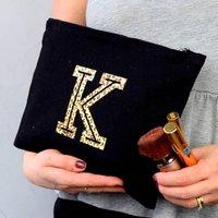 Leopard Print Initial Make Up Bag