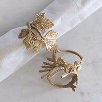 Gold Leaf Metal Napkin Rings