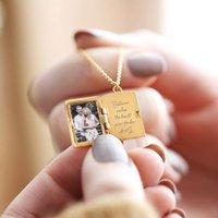 Personalised Vintage Style Book Locket Necklace