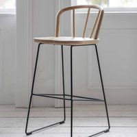 Round Backed Bar Stool With Metal Legs