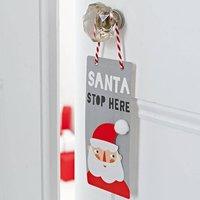 Christmas Santa Stop Here Door Sign