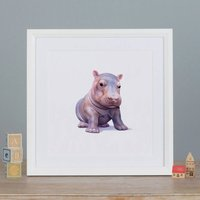 Illustrated Hippo Print