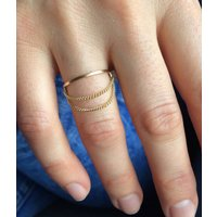 Gold Slim Ring With Chain Detail, Gold