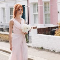 Floor Length Bridesmaid Or Prom Dress With Straps, Bright Pink/Pink/Champagne
