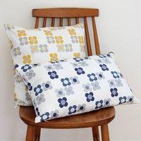Mod Flowers Cushion, Yellow/Indigo/Blue