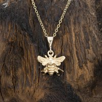 Solid Nine Carat Gold Bee Pendant/Necklace, Gold