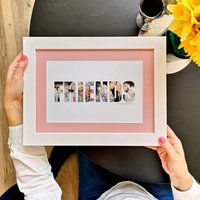 Personalised Friends Photo Gift Print, White