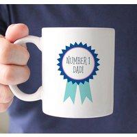 Personalised Number One Dad Rosette Mug, Navy/Teal/Pink