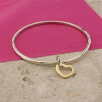 Silver Bangle With 9ct Gold Heart, Silver