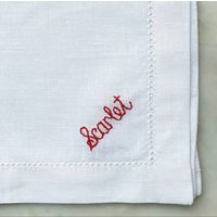Personalised Hand Embroidered Name Napkin