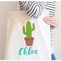 Personalised Cute Cactus Tote Bag, Teal/Pink/Green