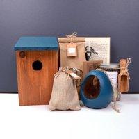 Dark Blue Bird House And Feeder