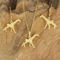 Giraffe Necklace And Earrings Set