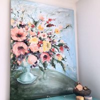 Abstract Floral Painting Acrylic On Canvas Original