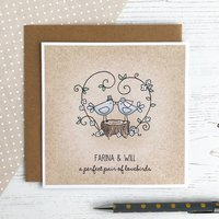 A Perfect Pair Of Lovebirds, Personalised Wedding Card