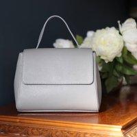 Leather Top Handle Handbag, Grey