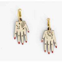 Hand, Wood Hood Earrings