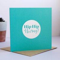 Hip Hip Hooray Congratulations Card, Teal/Magenta