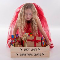 Personalised Medium Christmas Gift Crate, Ivory/Green/Red