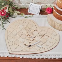 Wooden Heart Jigsaw Guest Book Alternative