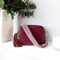 Plum Leather Handbag With Interchangeable Strap