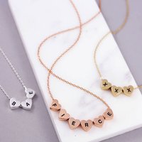 Personalised Bridesmaid Bead Necklace Gift, Gold/Silver/Rose Gold