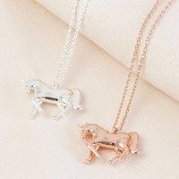 Shiny Unicorn Pendant Necklace, Rose Gold/Rose/Gold