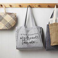 Wherever My Dreams Take Me Grey Jersey Slouch Bag