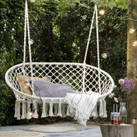Cream Macrame Double Hanging Garden Seat