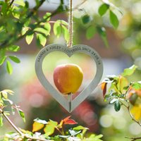 Personalised Heart Shaped Couples Metal Bird Feeder