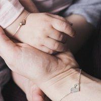 My Heart Silver Mummy And Me Bracelet Set, Silver